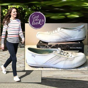 """KEDS Womens """"Emblaze"""" White LEATHER LaceUp Sneaker"""